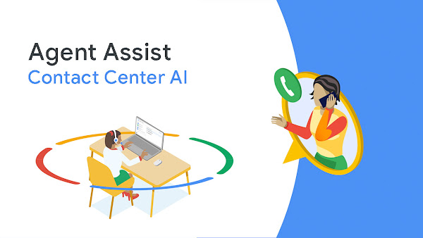 Illustration of a call center agent helping a customer with the aid of Contact Center AI's Agent Assist technology.