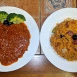 Portuguese pork and fried rice at Dragon Restaurant in Macau in Macau, , Macau SAR
