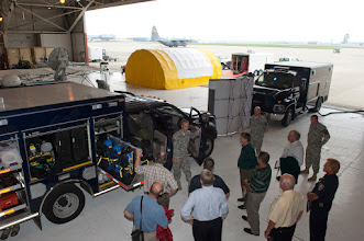 Photo: Mayors and other city officials from around the Twin Cities participated in demonstrations, an orientation flight on a C-130, and exchanged information with Minnesota National Guard members at Metro Mayors Day at the 133rd Airlfit Wing on Aug. 19, 2010. www.MinnesotaNationalGuard.org photo by Senior Master Sgt. Mark Moss