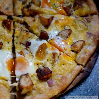 Cheesy Roasted Potato and Egg Pizza