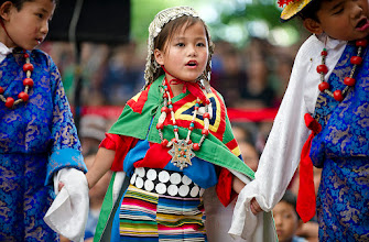Photo: Young children in traditional Tibetan dress performing during celebrations honoring His Holiness the Dalai Lama's 77th birthday at the Main Tibetan Temple in Dharamsala, India, on July 7, 2012. Photo/Tenzin Choejor/OHHDL