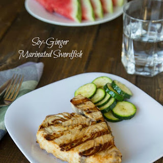 Soy-Ginger Marinated Grilled Swordfish.