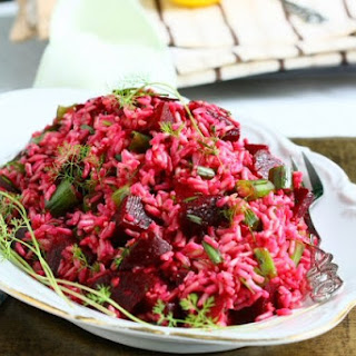 Brown Rice Salad with Beetroot and Herbs