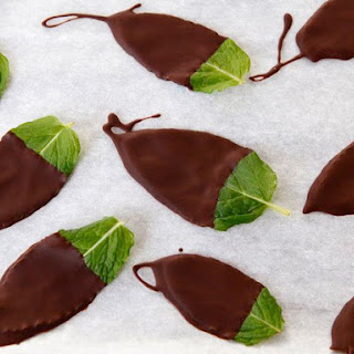 Dark Chocolate Mint Leaves.
