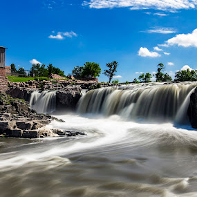 by Rachaelle Larsen - Landscapes Waterscapes ( waterfalls, south dakota, falls park, neutral density, sioux falls )