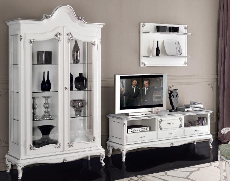 Porta tv classico in stile Art Decò,mobile televisore retrò bianco ...