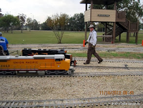 Photo: Rick White, setting swtiches for David James.    2013-1116 DH3