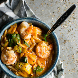 Easy Tomato Orzo Soup with Shrimp and Spinach.