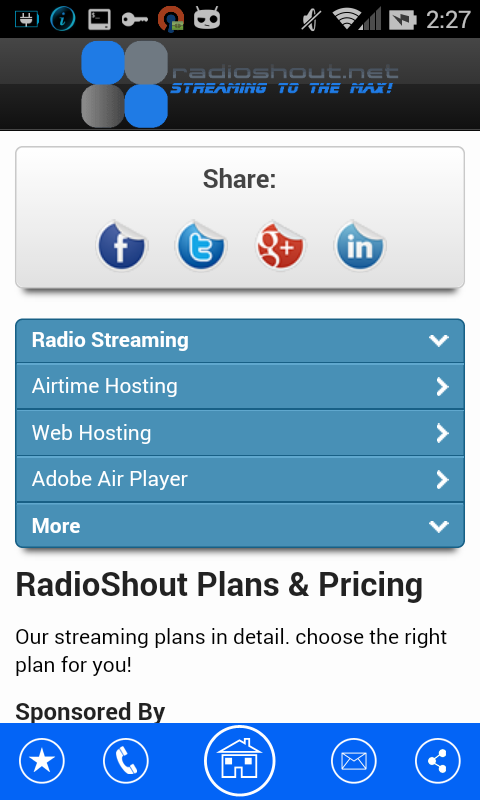 RadioShout Streaming Services- screenshot