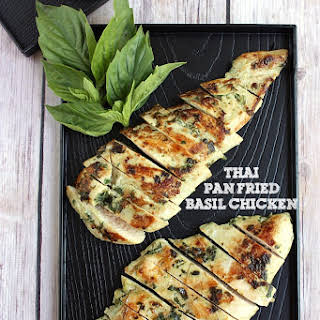 Thai Pan Fried Basil Chicken.