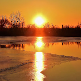 Golden Crush by Kathy Woods Booth - Landscapes Sunsets & Sunrises ( mirrored reflection, reflection, waterscape, dusk, sunset, golden, ice, sundown )