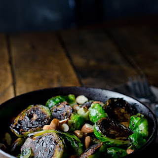 Pan Seared Brussels Sprouts with Toasted Almonds and Balsamic