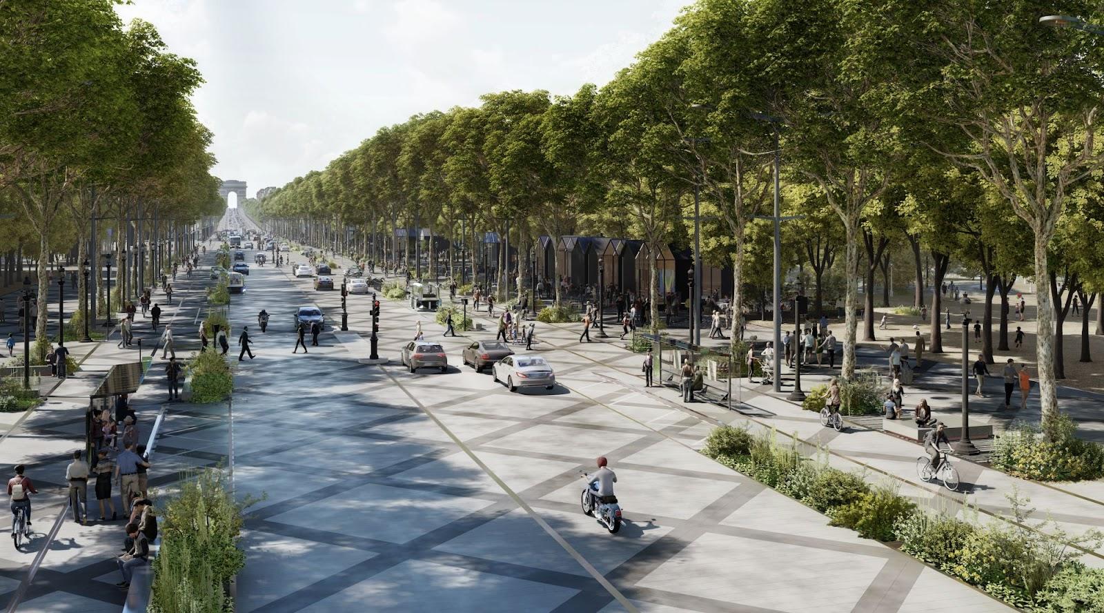 Reencantando a Champs Elysées mudará completamente o cenário de Paris. (Fonte: Reprodução/PCA-Stream)