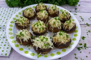 Chevre and Sausage Stuffed Mushrooms