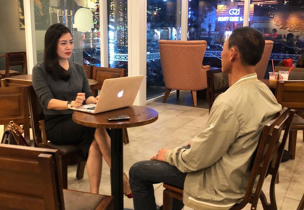 Anh Nguyễn Trọng H. kể lại nội dung vụ việc với phóng viên