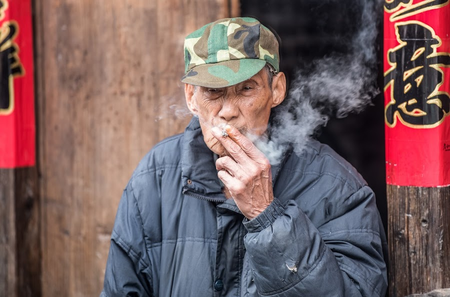 Smoking Man by Jim Harmer - People Street & Candids ( old, smoking, street, man, china )