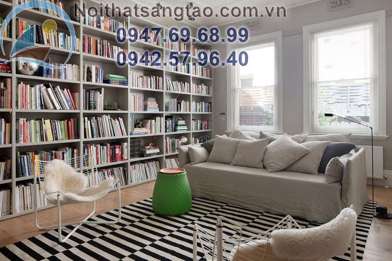 thiết kế phòng đọc sách nhẹ nhàng
