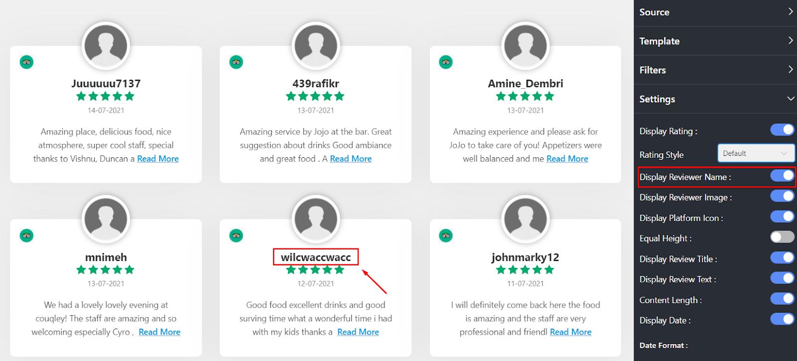 Display reviewer name