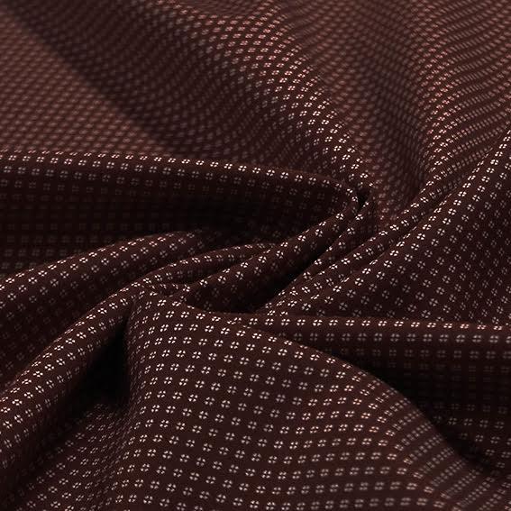 Småmönstrad Bomullspoplin - brun