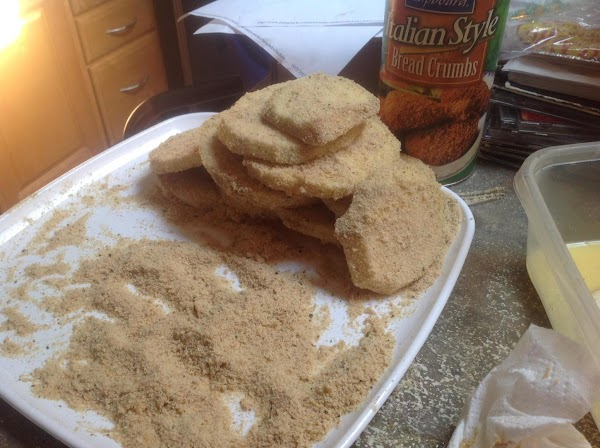 Remove from egg dish to the bread crumb platter and coat both sides of...