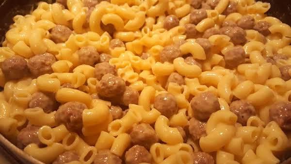 Creamy Macaroni & Cheese With Mini Meatballs Recipe