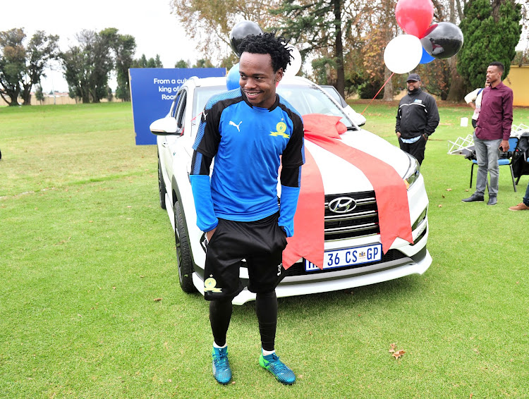 Bafana Bafana and Mamelodi Sundowns star forward Percy Tau ecstatic after being presented with a brand new car from the club's vehicle partner Hyundai during an open media day at Chloorkop training base on April 12 2018.