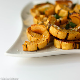 Roasted Delicata Squash with Parmesan & Walnuts