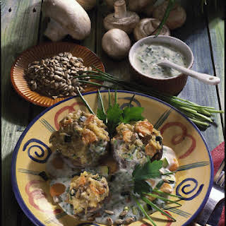 Stuffed Mushrooms with Herb Sauce.