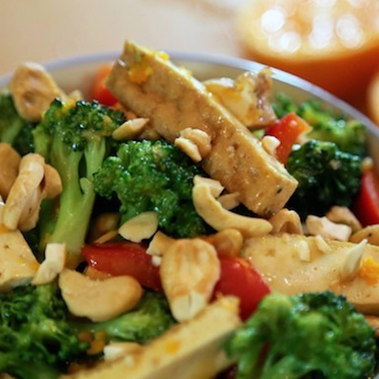 Orange-Glazed Tofu and Broccoli - vegan food