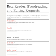 Beta Reader, Proofreading, and Editing Requests
