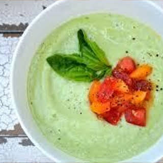 Chilled Avocado, Cucumber, and Watercress Soup.