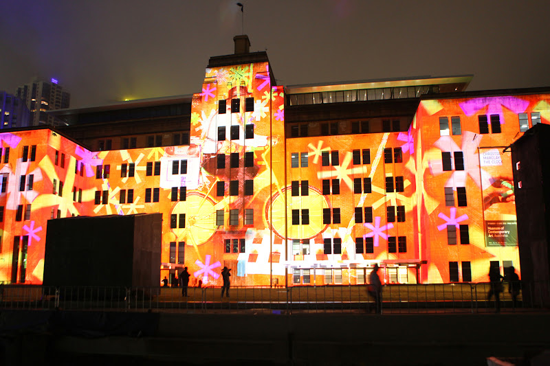 Photo: The old facade of the MCA lit up for Vivid Sydney 2012