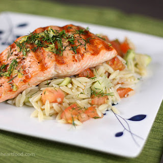 Grilled Salmon with Orzo Salad.