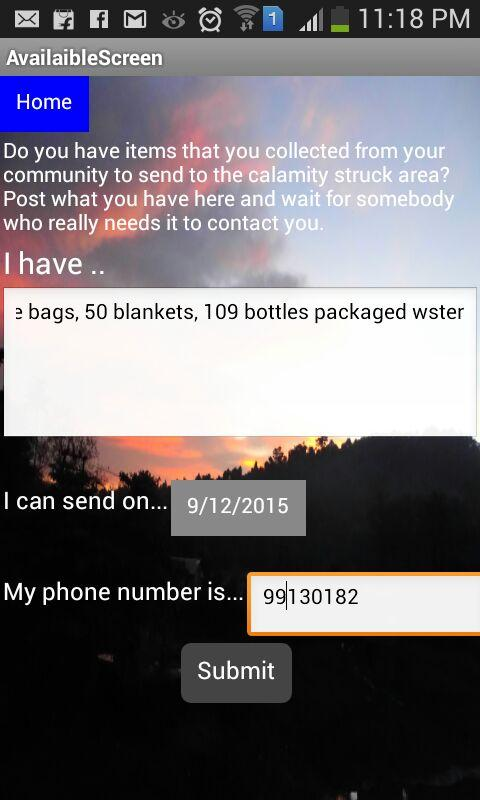 Calamity Relief App- screenshot