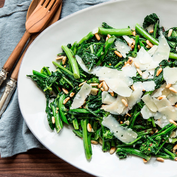 Spicy Broccoli Rabe with Parmesan and Pine Nuts Recipe | Yummly