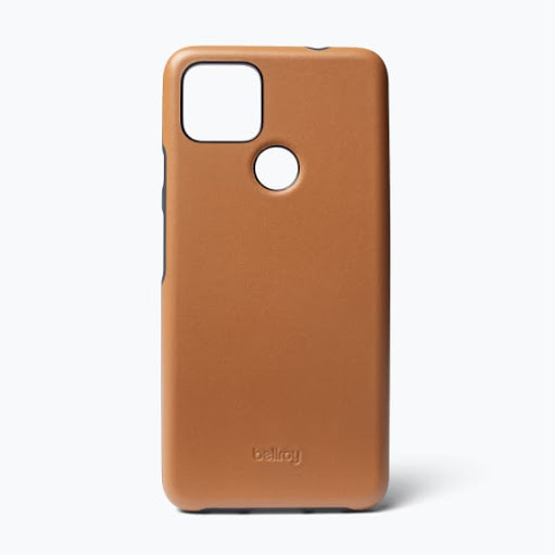 Exterior view of the Bellroy Leather Case for Google Pixel 5a (5G) in toffee.