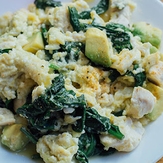 Chicken and Spinach Scramble with Avocado Recipe