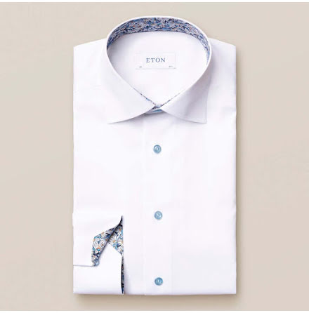 ETON White signature twill daisy details slim fit
