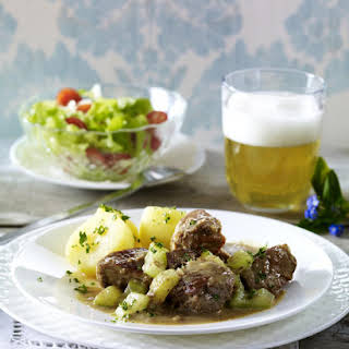 Beef and Pork Stew with English Mustard.