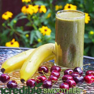 Banana-Cherry and Chard Green Smoothie.
