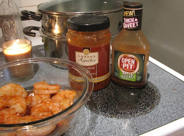 Marinade the shrimp and vegetables with Asian Ginger sauce and Apple Whiskey BBQ sauce