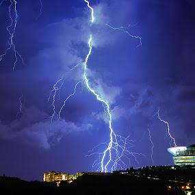 Thunders Strike Our Resident by Fadly Hj Halim - City,  Street & Park  Vistas ( picc, strike, putrajaya, night. residents, malaysia, thunders )