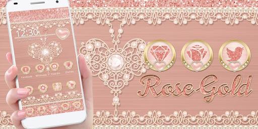 Rose Gold Launcher Diamond Heart Theme 1.1.1 screenshots 5