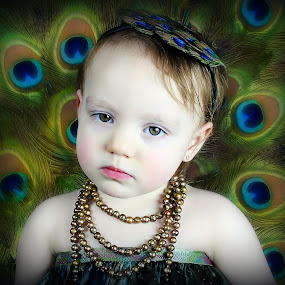 Peacock Baby by Stephanie Munguia-Wharry - Novices Only Portraits & People ( peacock feathers, l little girl, gir, peacock )
