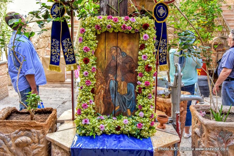 Икона святого Герасима Иорданского в дворе монастыря.