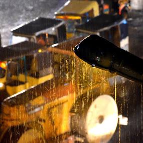 Raining Night by Umair Nayab - City,  Street & Park  Night ( bulldozer, night, yellow, transportation, rain,  )
