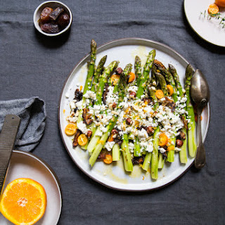 Raw Asparagus Salad With Feta, Dates, Hazelnuts And Kumquats