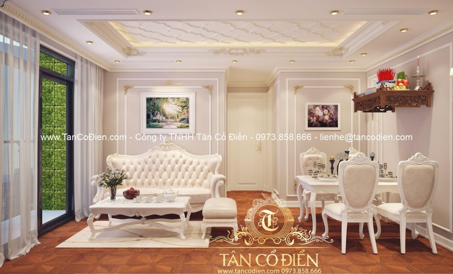Nội thất phòng khách cổ điển đẹp và sang trọng