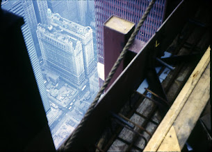 Photo: Looking over the side of the North Tower (110 floor).  Part of the South Tower visible.
