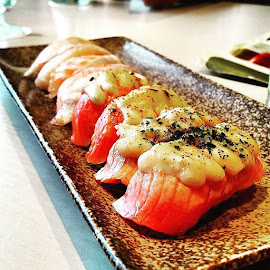 Let my salmon crave go wild by Yong sim Hing - Food & Drink Eating ( sushi, taro, mentai, salmon, cheese, smoked )